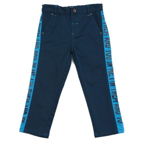"""Boy Navy Blue Contrast Panel Trousers - """"I In Them And You In Me"""""""