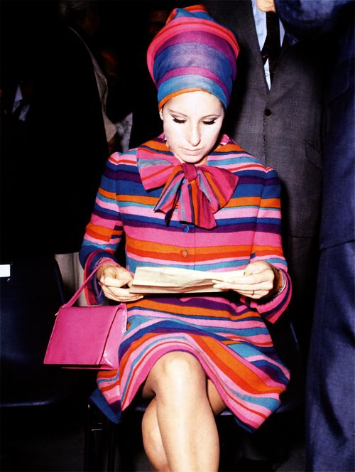 Barbra Streisand at 60s fashion show