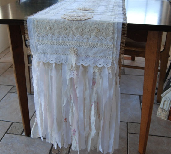 Burlap Wedding Altar: Table Cloth Runner, Burlap & Lace Table Runner, Lace Table