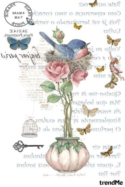 roses and bird - combinação de moda                                                                                                                                                                                 Mais