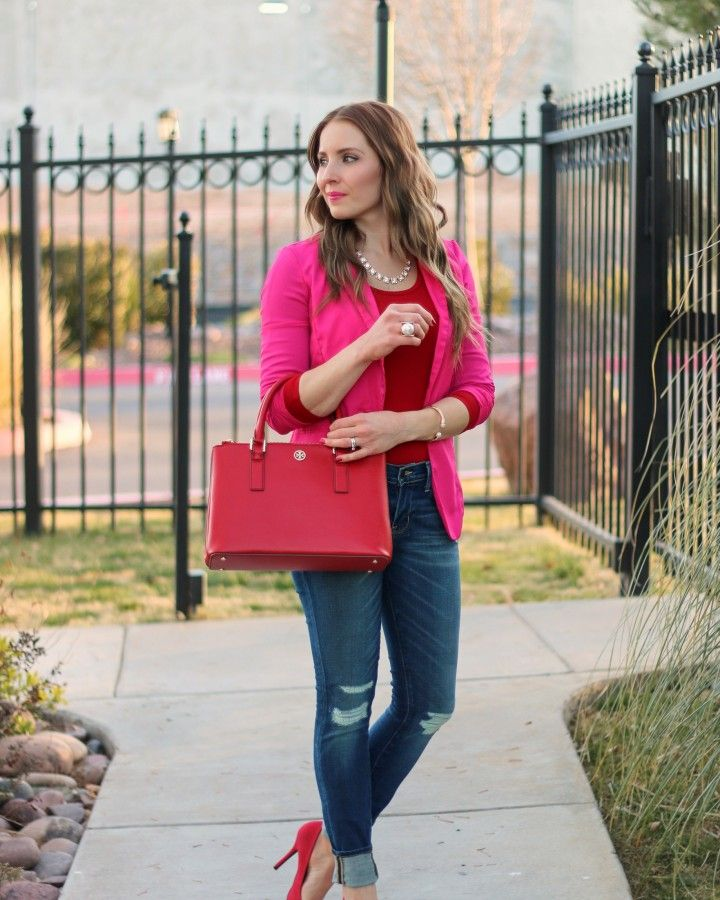 Pink and Red Casual Valentine :: Hot Pink Blazer and Red Bow Pumps