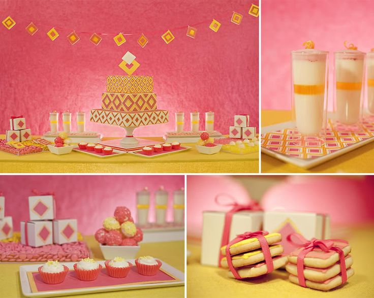 Pink and Yellow Sweet Table