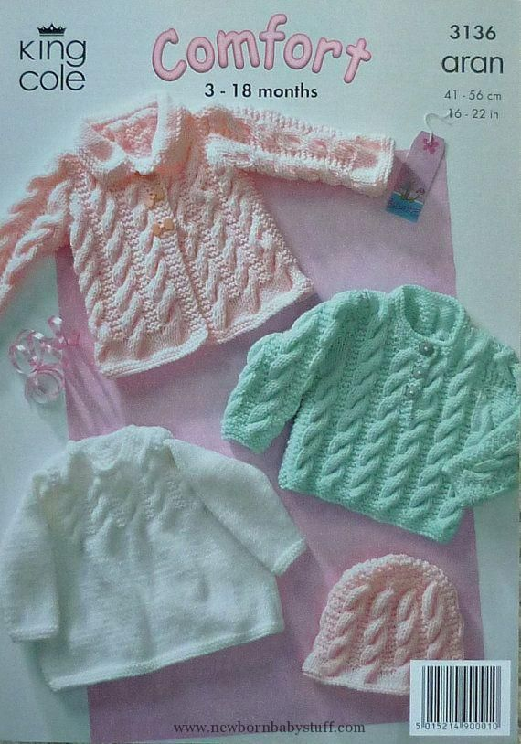 Baby Knitting Patterns K3136 Babies Coat Jumper Hat Cable Outdoor Set Knitting Patt...