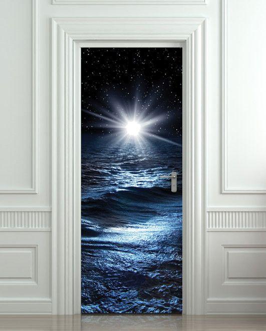 Door Sticker Sea Night Water Mural Decole Film Self