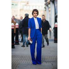 2017 Yeni Pant Suit Kadın Casual Ofis İş Takımları Resmi iş Elbisesi Kraliyet Mavi Zarif Pantolon Takım Elbise Yaz Bahar Özel yapılan(China (Mainland))