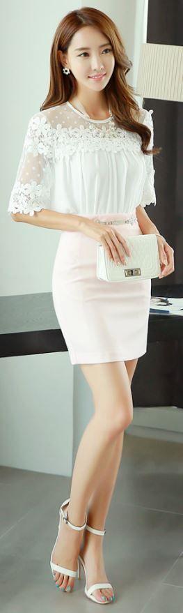 StyleOnme_Basic High-waisted Pencil Skirt #babypink #lightpink #skirt #simple…