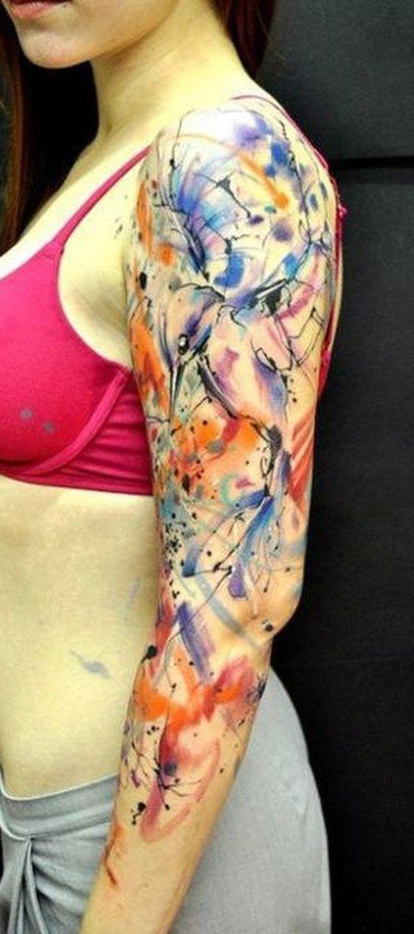 Watercolor sleeve tattoo - 65+ Examples of Watercolor Tattoo