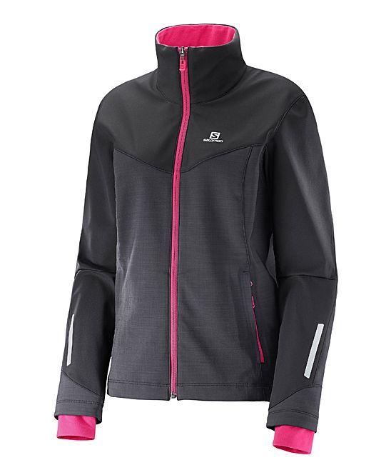Black & Yarrow Pink Pulse Softshell Windproof Jacket - Women