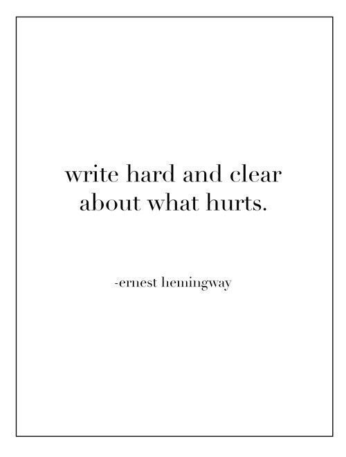 Write hard and clear about what hurts - Earnest Hemingway  Thanks EH for always inspiring me you old drunk.   via: observando: Classroom Quotes, Hemingway Quotes, Author Quotes, Motivation Quotes