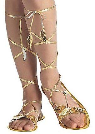 <p>Leuke gouden sandalen in griekse, egyptisch en arabische stijl. De gouden sandalen hebben bladeren langs de veters en zijn een productie van California Costumes.<br /><br /></p><p><strong>Set bestaat uit:</strong><br />- Sandalen</p>