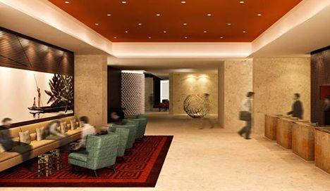 ILUMINACIÓN. En los últimos tiempos, las grandes lámparas de cristal en los hall de los hoteles ha quedado antiquado. En cambio, ahora se apuesta por pequeñas luces halógenas encastradas en el techo cual estrellas en el cielo. Su iluminación es más general aunque su luz es más fría, pero se complementa y suaviza con los colores de techo y pared. Además, a este tipo de iluminación le viene muy bien la iluminación decorativa o ambiental en zonas de descanso o relax.