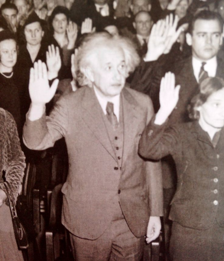 Their Loss. Your Gain: Einstein , was visiting the U.S.A. when Hitler came to power in 1933 and, being Jewish, did not go back to Germany, where he had been a professor at the Berlin Academy of Sciences. He settled in the U.S., becoming an American citizen in 1940.
