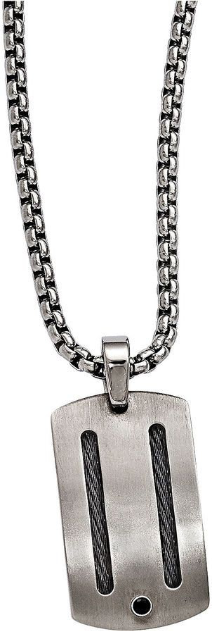 FINE JEWELRY Edward Mirell Argentium Sterling Silver Mens Black Spinel Titanium Pendant Necklace