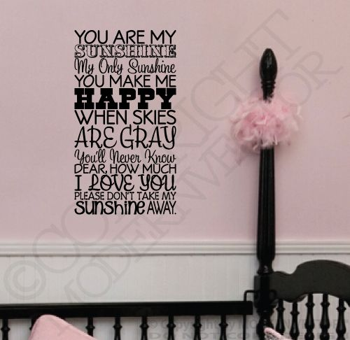 you are my sunshine quotes | Details about YOU ARE MY SUNSHINE Quote Vinyl Wall Decal Letters ...