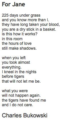 hello, how are you: For Jane Charles Bukowski