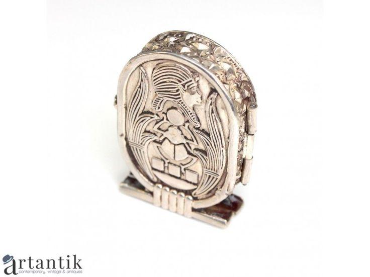 Caseta/Cutiuta egipteana din argint pentru pastile - SHEN