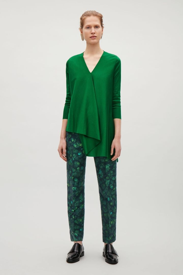 COS image 6 of V-neck pleat top in Bottle Green