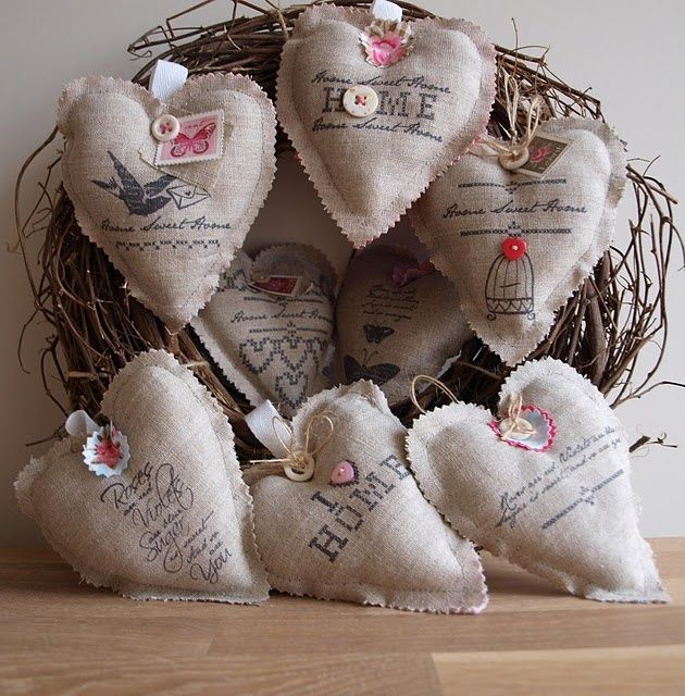 Burlap Hearts - I want to make & turn into door hangers. (Burlap Country Christmas Ornaments)