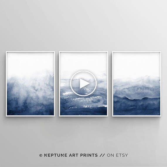 Impression Aquarelle Art Mural Indigo Aquarelle Imprimable