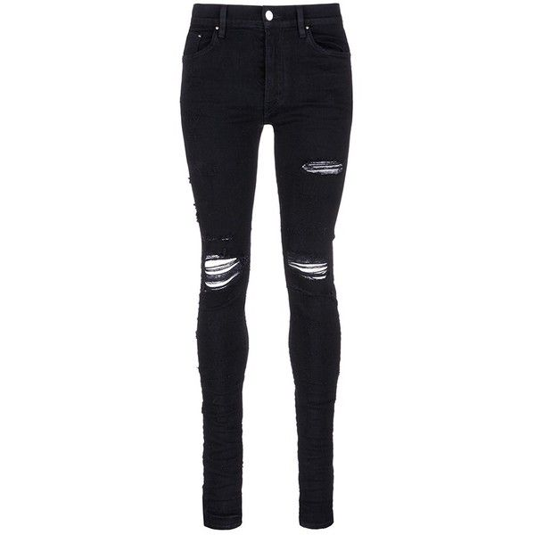 Amiri 'Shotgun' slim fit ripped knee jeans ($890) ❤ liked on Polyvore featuring men's fashion, men's clothing, men's jeans, black, mens destroyed jeans, mens ripped jeans, mens distressed jeans, mens slim cut jeans and mens slim jeans