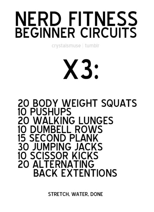 NERD FITNESS BEGINNER CIRCUITS - I've been doing this routine and it works amazingly. Do the routine once, wait 48 hours, do it again. The inches start dropping.
