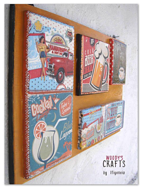 Ξύλινο χειροποίητο κάδρο-σύνθεση σε pop-art στυλ | Διακοσμητικά Τοίχου | Περισσότερα στη διεύθυνση: http://j.mp/woodys-crafts-gallery-xeiropoiita-kadra