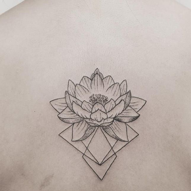 Geometric lotus tattoo by Hannah Nova Dudley #HannahNovaDudley #lotus #flower…
