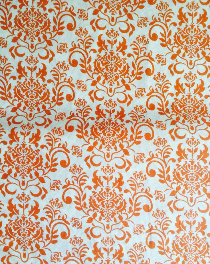 Keepsake Calico Fabric Orange Damask on White by ShopPetunias on Etsy https://www.etsy.com/listing/238106768/keepsake-calico-fabric-orange-damask-on