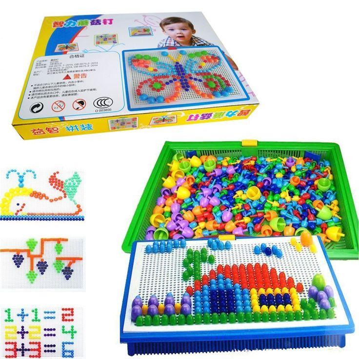 Amazon.com: licb 296Pcs Pile Up Juguetes de bricolaje ciencia Niños hongo uñas mosaico el Retrato rompecabezas juego de Creative mosaico Pegboard juguetes educativos para los niños (Random colores): Toys & Games