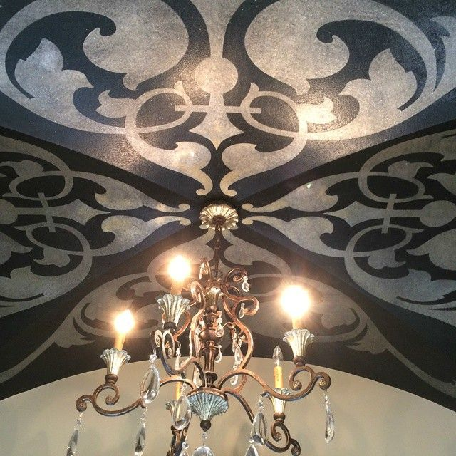 Beautiful groin ceiling was created with the help of the Modern Masters Metallic Paint Collection. The incredible artistry is by decorative artist Lance Dean Meyers.
