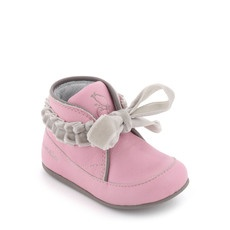 baby booties inspiration- Absorba - Light pink boots with grey velvet laces - 18859