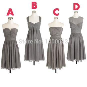 Barato diferentes estilos júnior lindo gasa discrepancia gris gris dama de honor vestidos cortos 2015 For partido vestidos