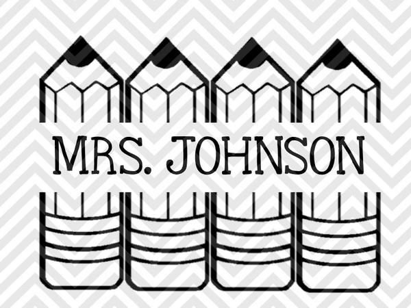 Back to School Teacher Pencil Name Tag Monogram (Letters Not Included) SVG and DXF Cut File • PNG •  Download File • Cricut • Silhouette