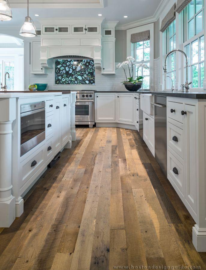 Custom Wood Floors In A White Kitchen