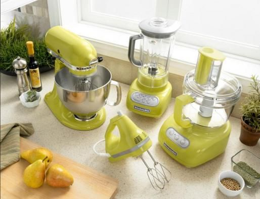 Greenish yellow small kitchen appliances