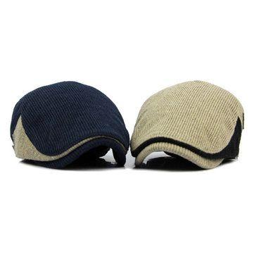 Men Woolen Knitted Beret Cap Adjustable Buckle Newsboy Cabbie Hat