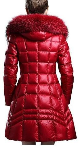Fur Hooded Paneled Puffer Down Coat - (Red, Blue, Black)