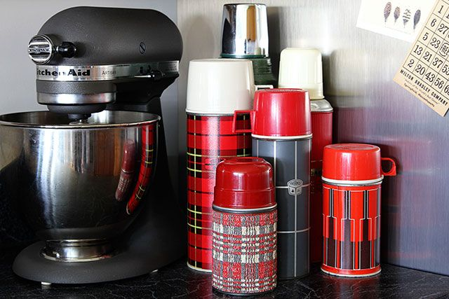 Top ten tips for making the most out of your thrift store experience - Collection of vintage thermoses used as kitchen decor