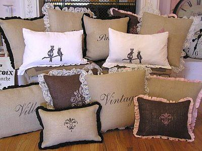 Sweet, French Country: Projects, Pillow Talk, Shabby Chic, Decorating Ideas, Burlap Pillows, French, Diy, Crafts