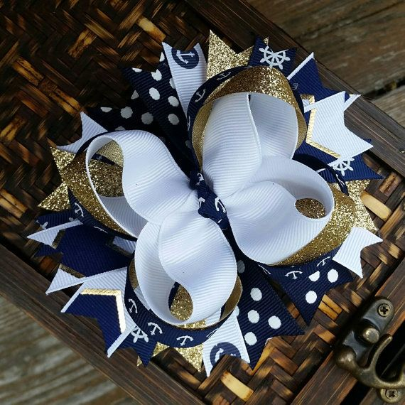 Hey, I found this really awesome Etsy listing at https://www.etsy.com/listing/278398596/navy-nautical-hair-bow