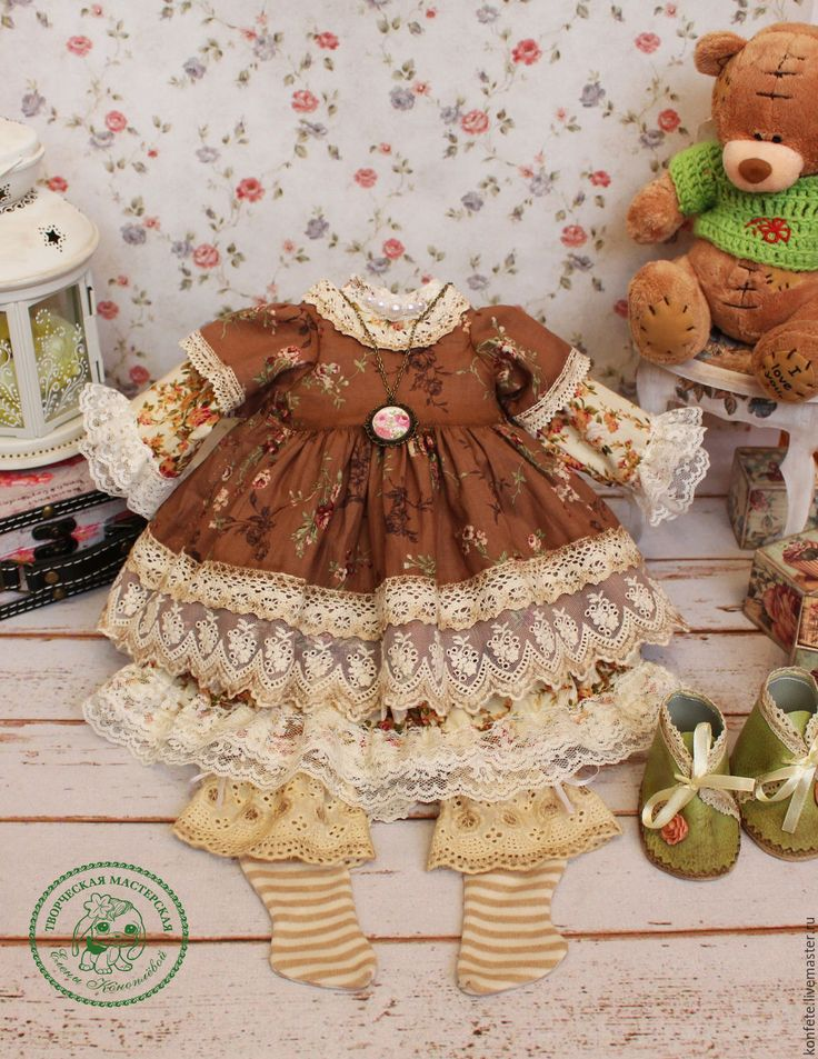 Купить Одежда для кукол. Комплект одежды бохо, шебби шик - ярко-красный, одежда для кукол