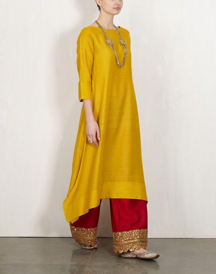Yellow Kurta With Embroidered Pants-Lajjoo C- img2