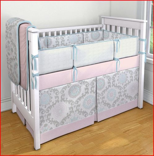 pink and gray crib bedding sets 2