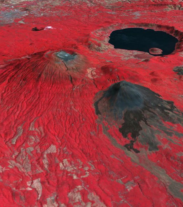 Le volcan Santa Ana situé dans la cordillère d'Apaneca au Salvador vu depuis l'espace
