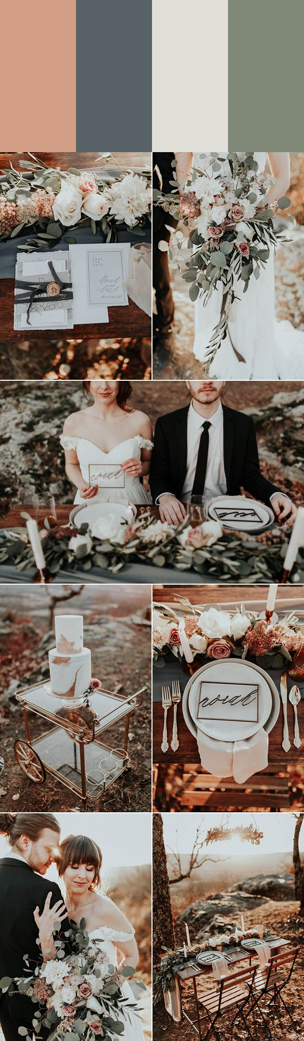 Rose gold, dusty blue, ivory, and sage can make any spring wedding that much more magical | photo by Luke and Mallory, event and floral design by Kaleb Norman James, cake by Cakes by Felicitations, stationery by Gabriel Pattenhouse, groom's apparel by Bonobos