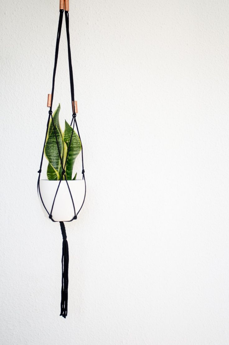 If you love indoor plants but would like to keep your thingsclutter-free, then a plant hanger is the ideal space-saver. This oneis handmade in Durban, South Africa from black cotton rope and its …