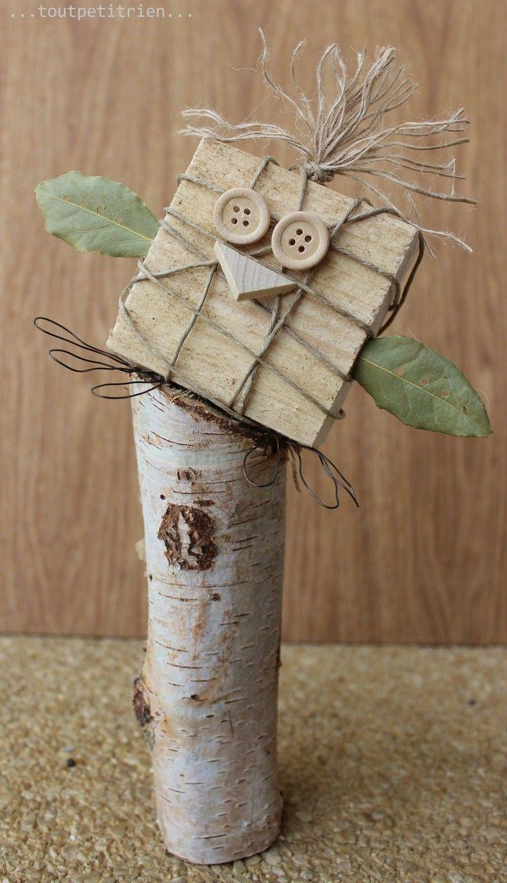 Un oiseau, nous recyclons nos chutes de bois. www.pinterest.com/fleurysylvie et www.toutpetitrien.ch  #bricolage #paques #enfants