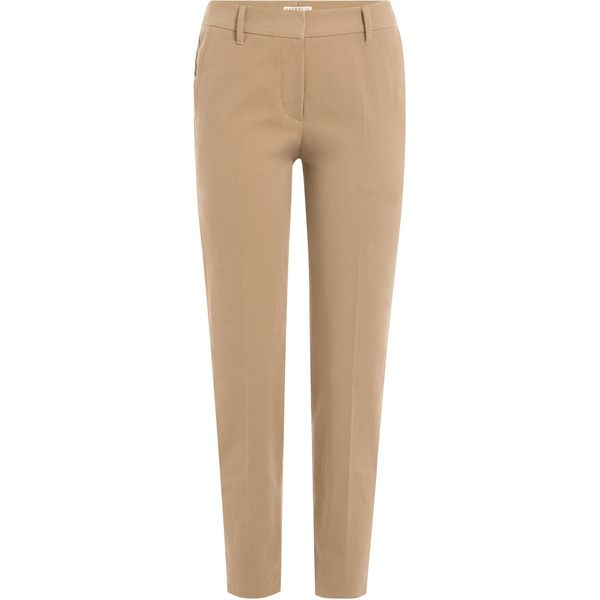 Brunello Cucinelli Stretch Cotton Trousers ($565) ❤ liked on Polyvore featuring pants, capris, camel, cropped pants, stretch crop pants, slim cropped pants, slim fit trousers and stretchy pants