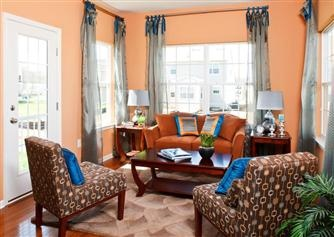 Salmon Painted Walls With The Iridescent Curtains Make This Room Come Alive With Color Living
