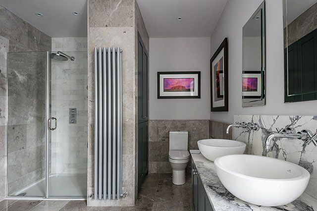 Bathroom Inspiration - Marble wall and floor tiles, countertop basins, wall mounted taps...